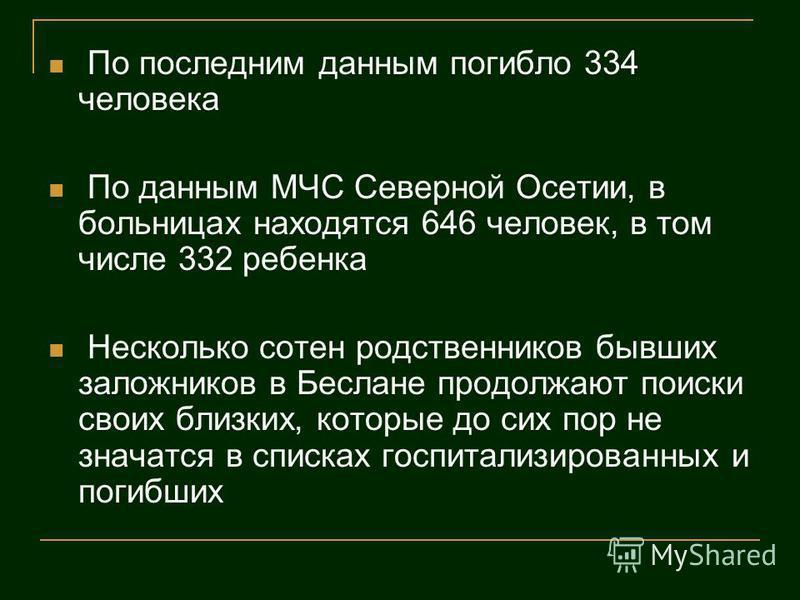 По последним данным погибло 334 человека По данным МЧС Северной Осетии, в больницах находятся 646 человек, в том числе 332 ребенка Несколько сотен родственников бывших заложников в Беслане продолжают поиски своих близких, которые до сих пор не значат