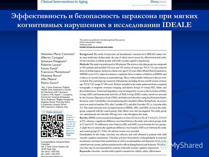 Эффективность и безопасность цераксона при мягких когнитивных нарушениях в исследовании IDEALE