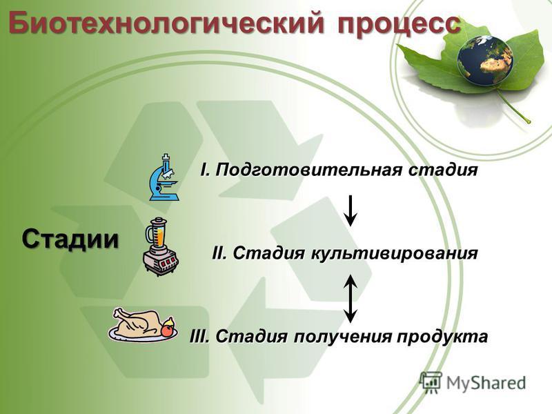 Стадии I.Подготовительнаястадия I. Подготовительная стадия II. Стадия культивирования III. Стадия получения продукта Биотехнологический процесс