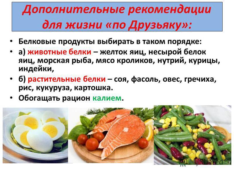 Дополнительные рекомендации для жизни «по Друзьяку»: Белковые продукты выбирать в таком порядке: а) животные белки – желток яиц, не сырой белок яиц, морская рыба, мясо кроликов, нутрий, курицы, индейки, б) растительные белки – соя, фасоль, овес, греч
