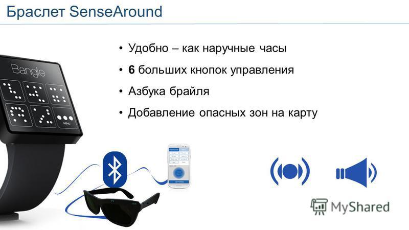 SenseAround Bangle Удобно – как наручные часы 6 больших кнопок управления Азбука брайля Добавление опасных зон на карту Браслет SenseAround