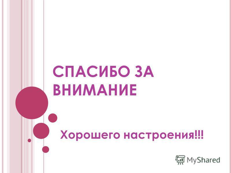 СПАСИБО ЗА ВНИМАНИЕ Хорошего настроения!!!
