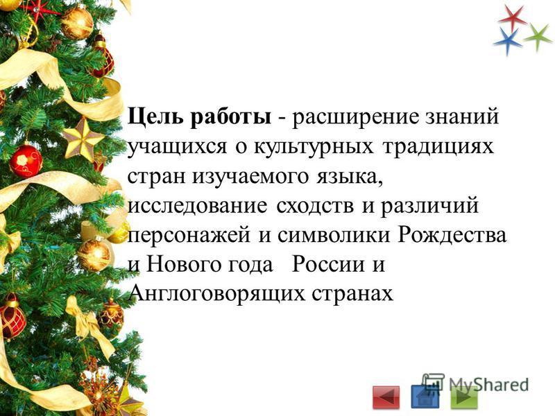 Цель работы - расширение знаний учащихся о культурных традициях стран изучаемого языка, исследование сходств и различий персонажей и символики Рождества и Нового года России и Англоговорящих странах