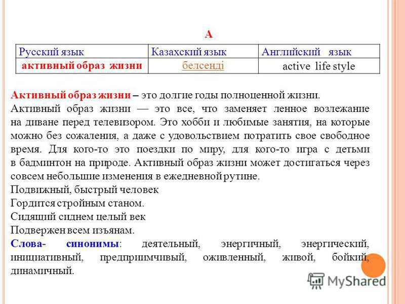 Русский язык Казахский язык Английский язык активный образ жизнибелсенді active life style А Активный образ жизни – это долгие годы полноценной жизни. Активный образ жизни это все, что заменяет ленное возлежание на диване перед телевизором. Это хобби