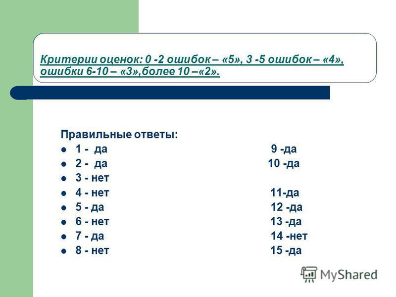Критерии оценок: 0 -2 ошибок – «5», 3 -5 ошибок – «4», ошибки 6-10 – «3»,более 10 –«2». Правилиные ответы: 1 - да 9 -да 2 - да 10 -да 3 - нет 4 - нет 11-да 5 - да 12 -да 6 - нет 13 -да 7 - да 14 -нет 8 - нет 15 -да