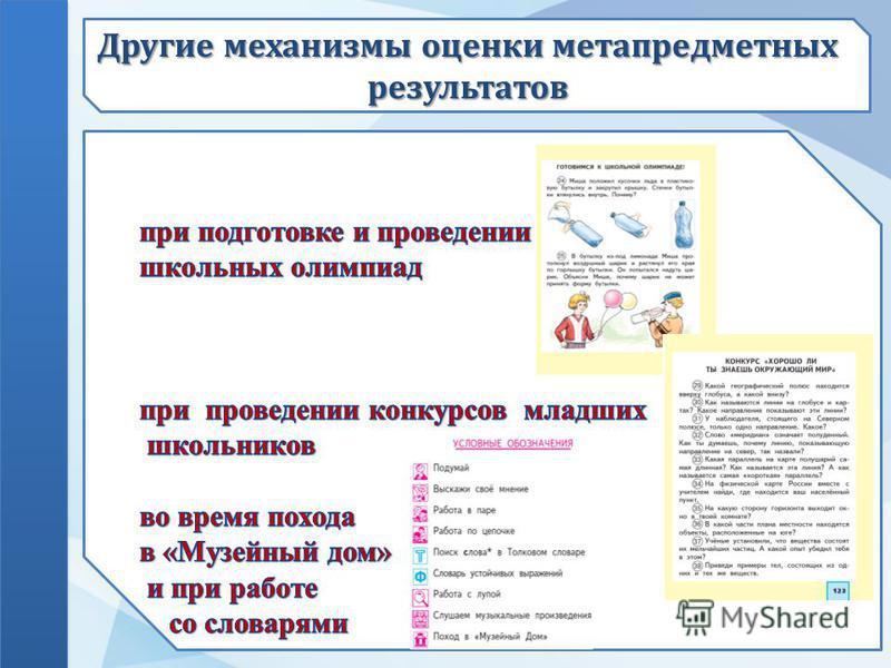 Другие механизмы оценки метапредметных результатов