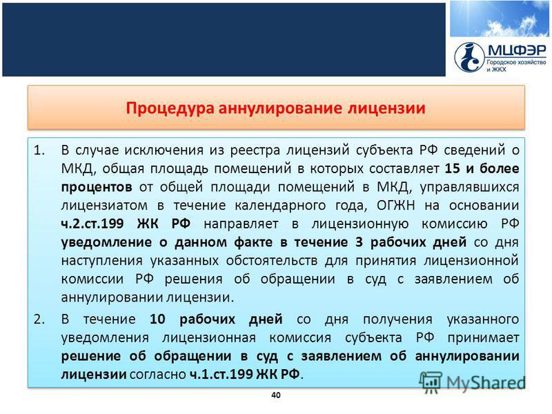 Процедура аннулирование лицензии 1. В случае исключения из реестра лицензий субъекта РФ сведений о МКД, общая площадь помещений в которых составляет 15 и более процентов от общей площади помещений в МКД, управлявшихся лицензиатом в течение календарно