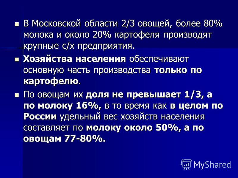 В Московской области 2/3 овощей, более 80% молока и около 20% картофеля производят крупные с/х предприятия. В Московской области 2/3 овощей, более 80% молока и около 20% картофеля производят крупные с/х предприятия. Хозяйства населения обеспечивают о