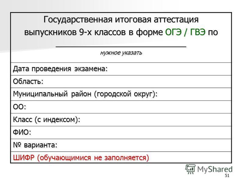51 Государственная итоговая аттестация выпускников 9-х классов в форме ОГЭ / ГВЭ по ___________________________ нужное указать Дата проведения экзамена: Область: Муниципальный район (городской округ): ОО: Класс (с индексом): ФИО: варианта: варианта: