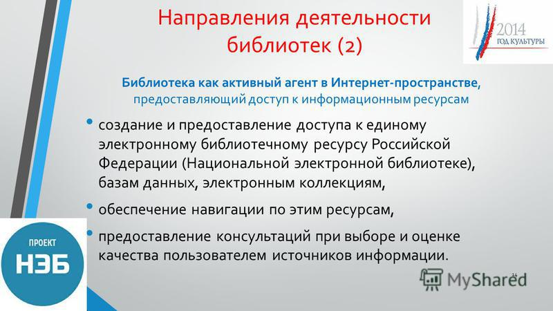 Направления деятельности библиотек (2) Библиотека как активный агент в Интернет-пространстве, предоставляющий доступ к информационным ресурсам создание и предоставление доступа к единому электронному библиотечному ресурсу Российской Федерации (Национ
