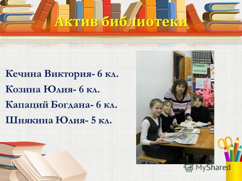 Актив библиотеки Кечина Виктория- 6 кл. Козина Юлия- 6 кл. Капаций Богдана- 6 кл. Шнякина Юлия- 5 кл.