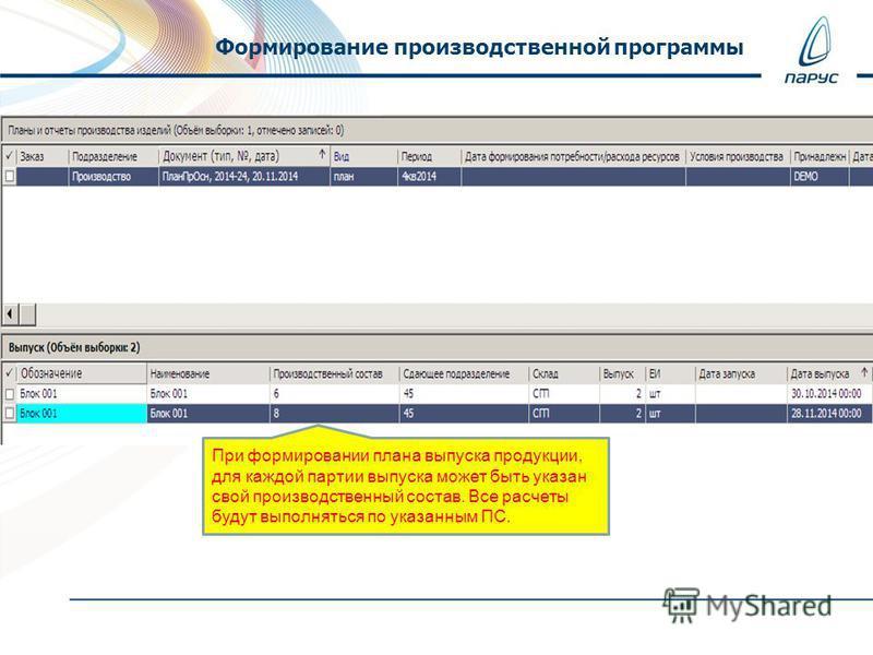 Формирование производственной программы При формировании плана выпуска продукции, для каждой партии выпуска может быть указан свой производственный состав. Все расчеты будут выполняться по указанным ПС.