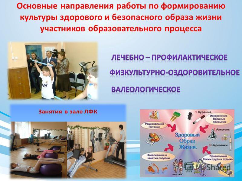 Основные направления работы по формированию культуры здорового и безопасного образа жизни участников образовательного процесса