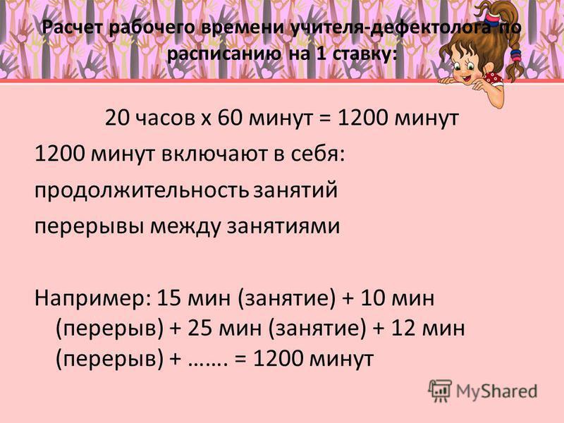 Расчет рабочего времени учителя-дефектолога по расписанию на 1 ставку: 20 часов х 60 минут = 1200 минут 1200 минут включают в себя: продолжительность занятий перерывы между занятиями Например: 15 мин (занятие) + 10 мин (перерыв) + 25 мин (занятие) +