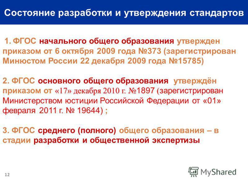 Состояние разработки и утверждения стандартов 1. ФГОС начального общего образования утвержден приказом от 6 октября 2009 года 373 (зарегистрирован Минюстом России 22 декабря 2009 года 15785) «17» декабря 2010 г. ( 2. ФГОС основного общего образования