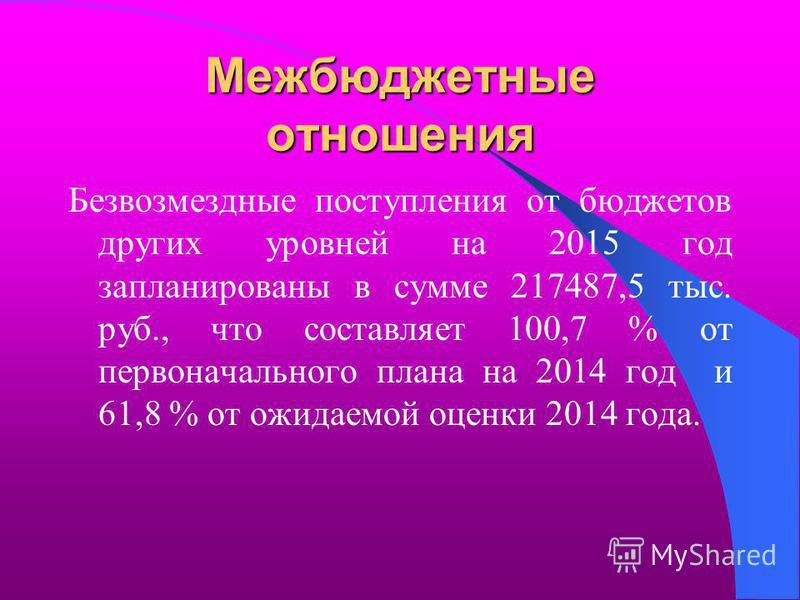 Межбюджетные отношения Безвозмездные поступления от бюджетов других уровней на 2015 год запланированы в сумме 217487,5 тыс. руб., что составляет 100,7 % от первоначального плана на 2014 год и 61,8 % от ожидаемой оценки 2014 года.