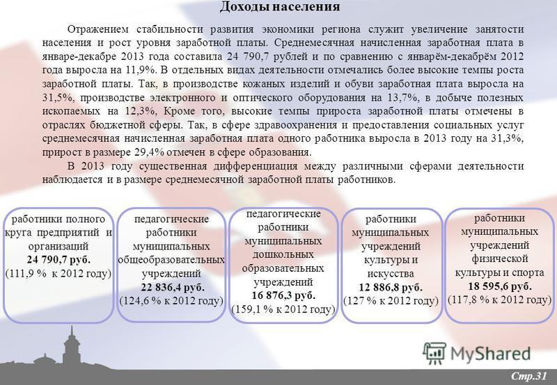 Стр.31 Доходы населения Отражением стабильности развития экономики региона служит увеличение занятости населения и рост уровня заработной платы. Среднемесячная начисленная заработная плата в январе-декабре 2013 года составила 24 790,7 рублей и по сра