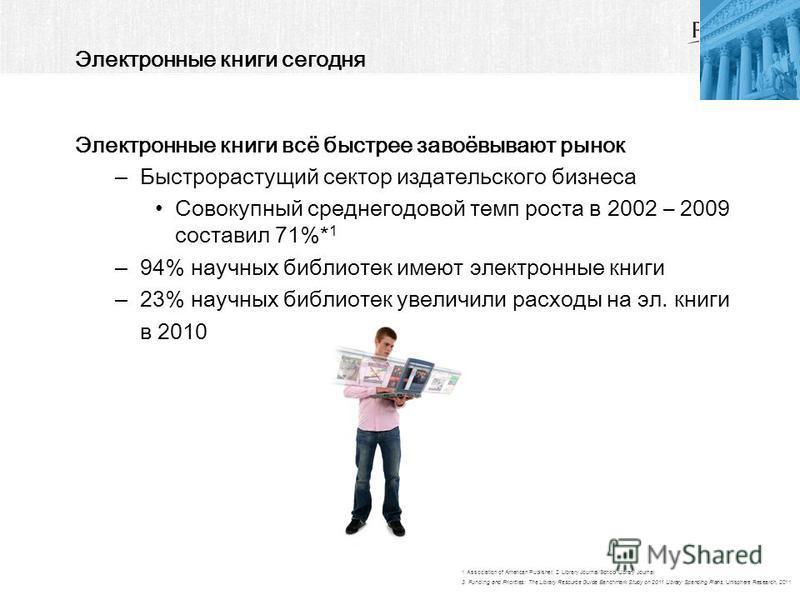 Электронные книги сегодня Электронные книги всё быстрее завоёвывают рынок –Быстрорастущий сектор издательского бизнеса Совокупный среднегодовой темп роста в 2002 – 2009 составил 71%* 1 –94% научных библиотек имеют электронные книги –23% научных библи