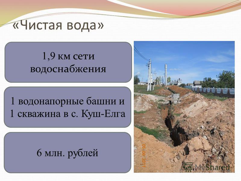 «Чистая вода» 1,9 км сети водоснабжения 1 водонапорные башни и 1 скважина в с. Куш-Елга 6 млн. рублей