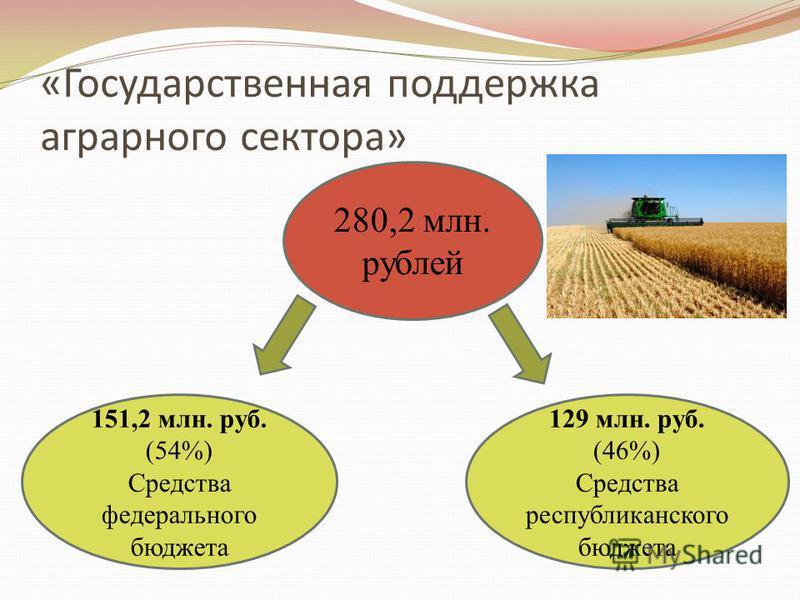 «Государственная поддержка аграрного сектора» 280,2 млн. рублей 151,2 млн. руб. (54%) Средства федерального бюджета 129 млн. руб. (46%) Средства республиканского бюджета