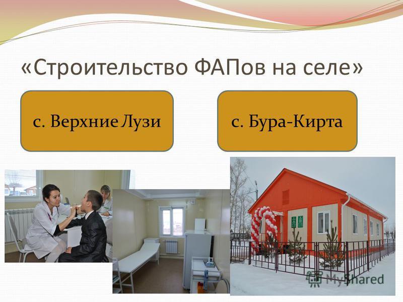 «Строительство ФАПов на селе» с. Верхние Лузи с. Бура-Кирта