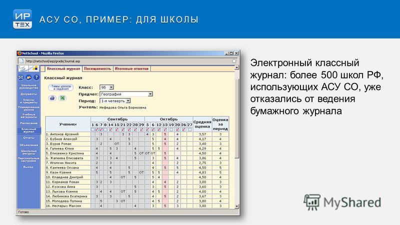 Электронный классный журнал: более 500 школ РФ, использующих АСУ СО, уже отказались от ведения бумажного журнала АСУ СО, ПРИМЕР: ДЛЯ ШКОЛЫ
