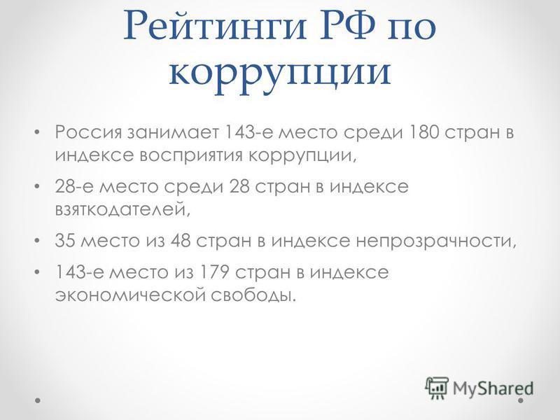 Рейтинги РФ по коррупции Россия занимает 143-е место среди 180 стран в индексе восприятия коррупции, 28-е место среди 28 стран в индексе взяткодателей, 35 место из 48 стран в индексе непрозрачности, 143-е место из 179 стран в индексе экономической св