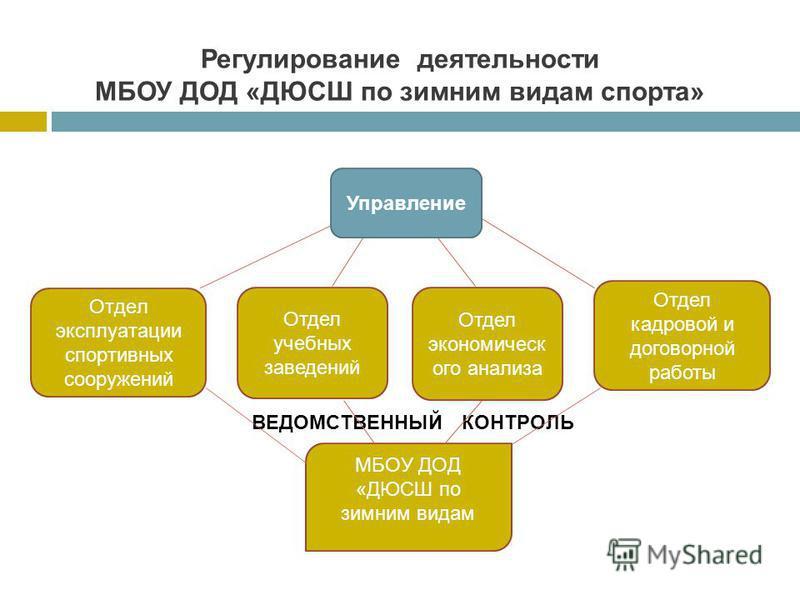 Регулирование деятельности МБОУ ДОД «ДЮСШ по зимним видам спорта» Управление