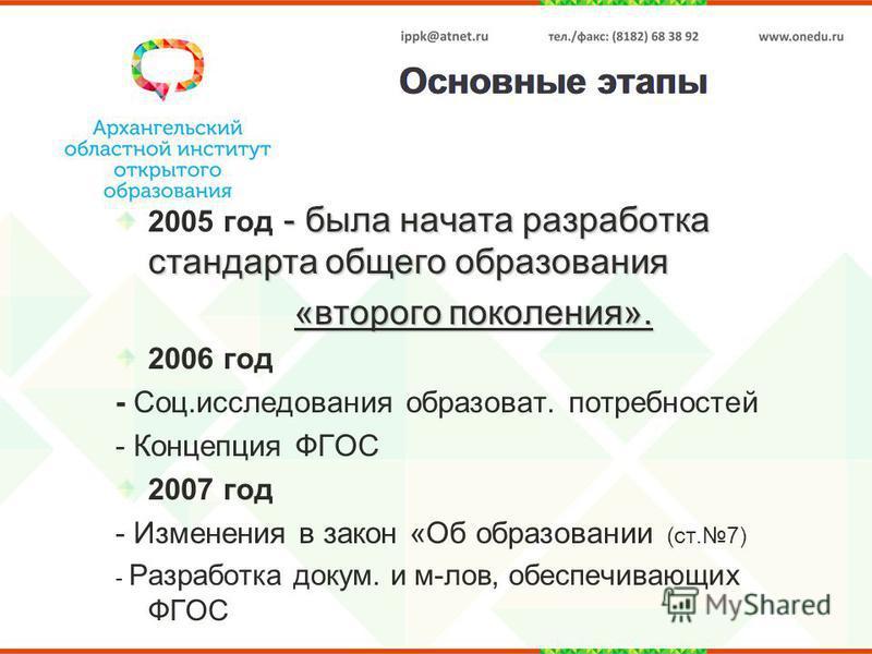 Основные этапы - была начата разработка стандарта общего образования 2005 год - была начата разработка стандарта общего образования «второго поколения». 2006 год - Соц.исследования образовать. потребностей - Концепция ФГОС 2007 год - Изменения в зако