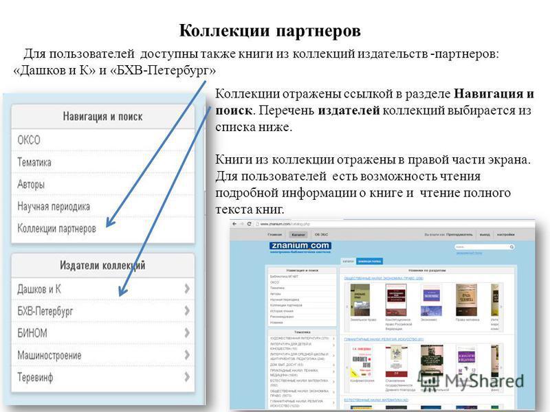 Коллекции партнеров Для пользователей доступны также книги из коллекций издательств -партнеров: «Дашков и К» и «БХВ-Петербург» Коллекции отражены ссылкой в разделе Навигация и поиск. Перечень издателей коллекций выбирается из списка ниже. Книги из ко