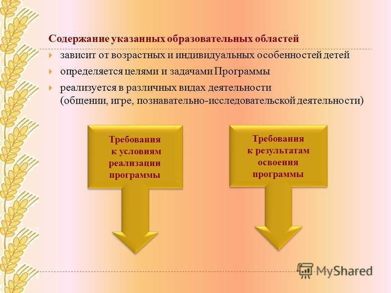 Содержание указанных образовательных областей зависит от возрастных и индивидуальных особенностей детей определяется целями и задачами Программы реализуется в различных видах деятельности (общении, игре, познавательно-исследовательской деятельности)