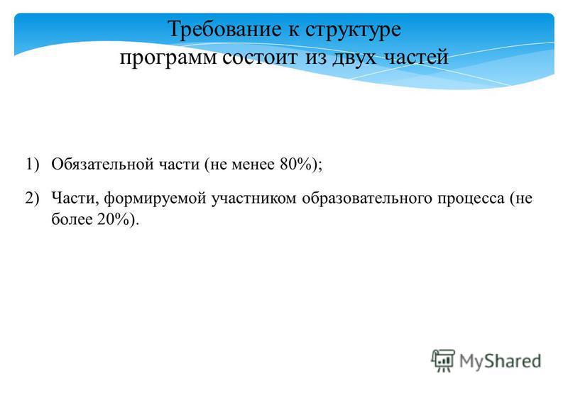 Требование к структуре программ состоит из двух частей 1)Обязательной части (не менее 80%); 2)Части, формируемой участником образовательного процесса (не более 20%).