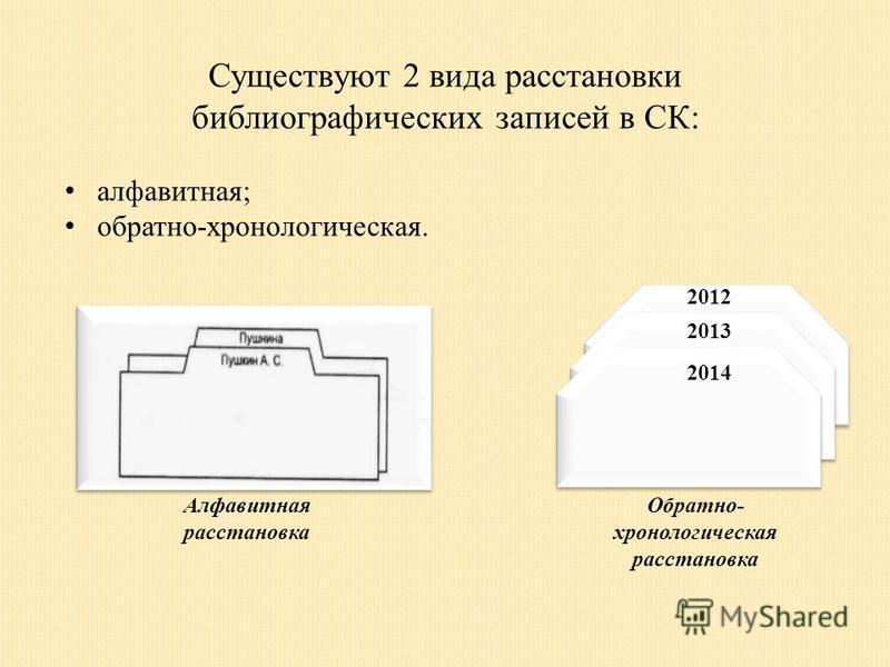 Существуют 2 вида расстановки библиографических записей в СК: алфавитная; обратно-хронологическая. 2013 2014 2012 Алфавитная расстановка Обратно- хронологическая расстановка