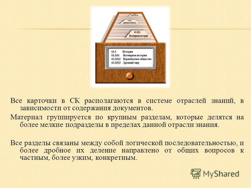 Все карточки в СК располагаются в системе отраслей знаний, в зависимости от содержания документов. Материал группируется по крупным разделам, которые делятся на более мелкие подразделы в пределах данной отрасли знания. Все разделы связаны между собой