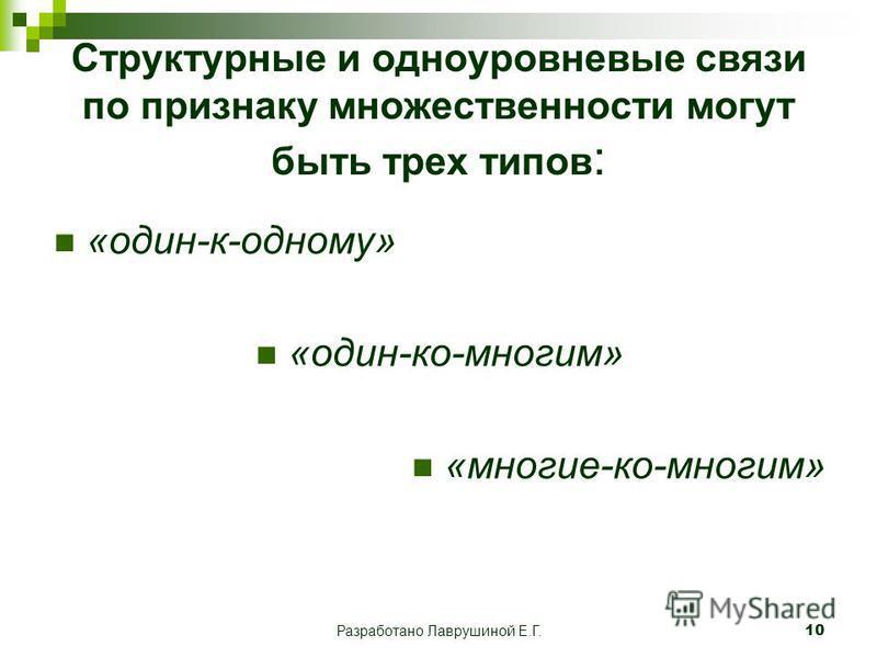 Разработано Лаврушиной Е.Г.10 Структурные и одноуровневые связи по признаку множественности могут быть трех типов : «один-к-одному» «один-ко-многим» «многие-ко-многим»