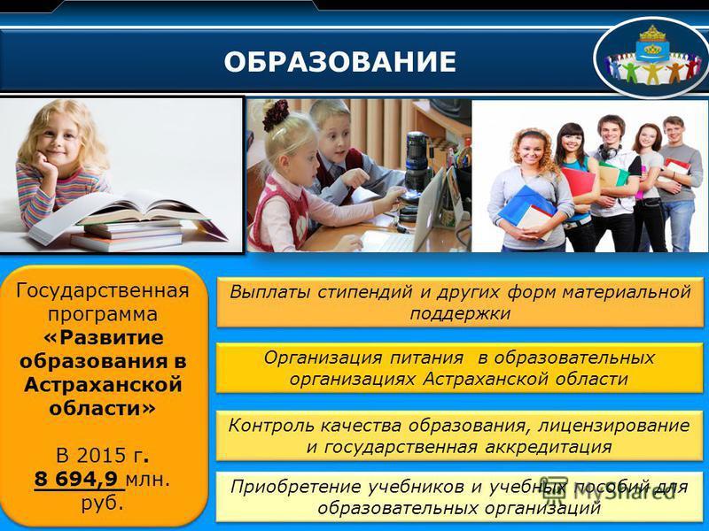 LOGO ОБРАЗОВАНИЕ Государственная программа «Развитие образования в Астраханской области» В 2015 г. 8 694,9 млн. руб. Государственная программа «Развитие образования в Астраханской области» В 2015 г. 8 694,9 млн. руб. Выплаты стипендий и других форм м