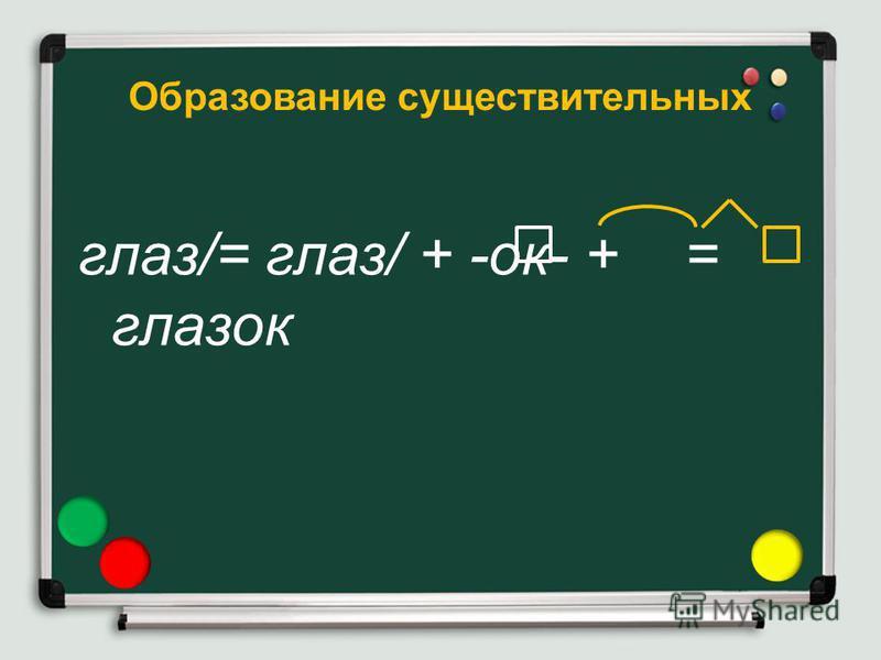Образование существительных глаз/= глаз/ + -ок- + = глазок