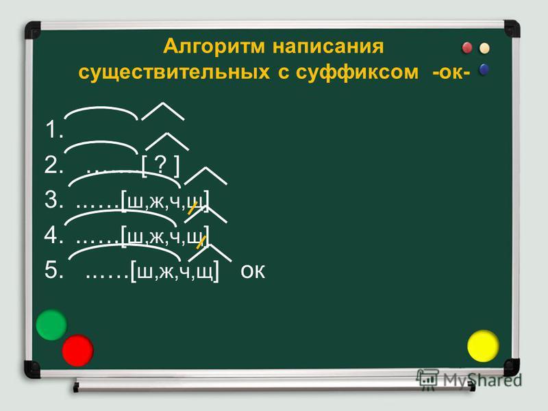 Алгоритм написания существительных с суффиксом -ок- 1. 2. …….[ ? ] 3...….[ ш,ж,ч,щ ] 4...….[ ш,ж,ч,щ ] 5...….[ ш,ж,ч,щ ] ок