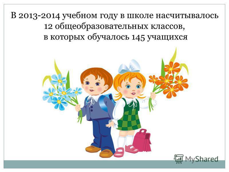 В 2013-2014 учебном году в школе насчитывалось 12 общеобразовательных классов, в которых обучалось 145 учащихся