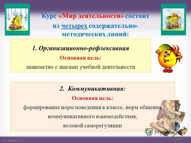 http://linda6035.ucoz.ru/ 1. Организационно-рефлексивная Основная цель: знакомство с шагами учебной деятельности Курс «Мир деятельности» состоит из четырех содержательно- методических линий: 2. Коммуникативная : Основная цель: формирование норм повед