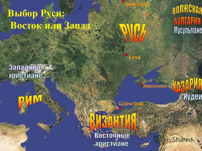 Новгород Киев Херсонес Царьград Выбор Руси: Восток или Запад.