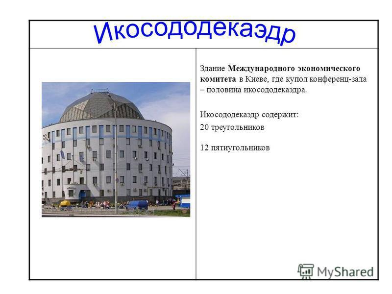Здание Международного экономического комитета в Киеве, где купол конференц-зала – половина икосододекаэдра. Икосододекаэдр содержит: 20 треугольников 12 пятиугольников