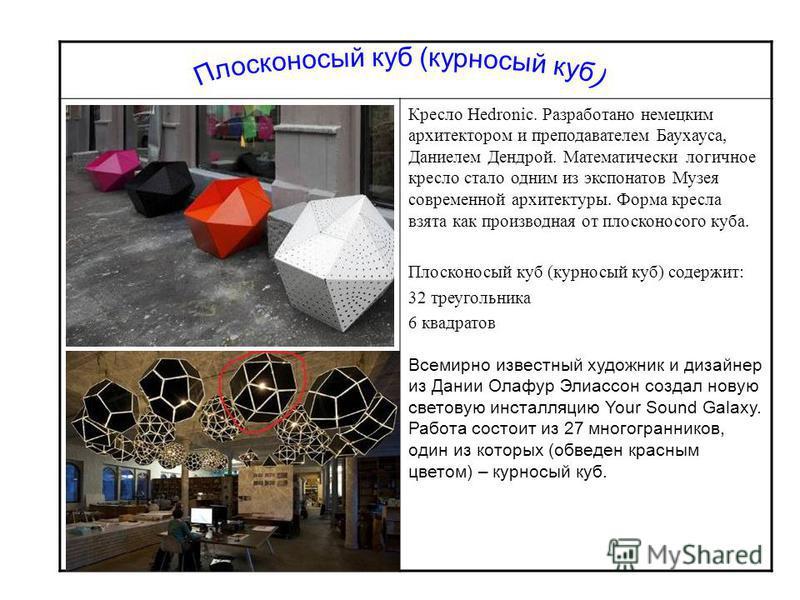 Кресло Hedronic. Разработано немецким архитектором и преподавателем Баухауса, Даниелем Дендрой. Математически логичное кресло стало одним из экспонатов Музея современной архитектуры. Форма кресла взята как производная от плосконосого куба. Плосконосы