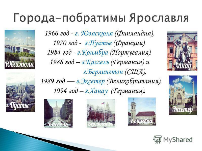 1966 год - г. Ювяскюля (Финляндия), 1970 год - г.Пуатье (Франция). 1984 год - г.Коимбра (Португалия). 1988 год – г.Кассель (Германия) и г.Берлингтон (США), 1989 год г.Эксетер (Великобритания). 1994 год – г.Ханау (Германия).