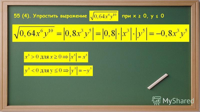 55 (4). Упростить выражение при x 0, y 0
