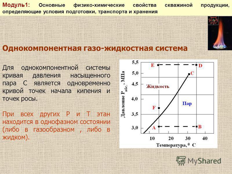 Для однокомпонентной системы кривая давления насыщенного пара С является одновременно кривой точек начала кипения и точек росы. При всех других Р и Т этан находится в однофазном состоянии (либо в газообразном, либо в жидком). Однокомпонентная газо-жи