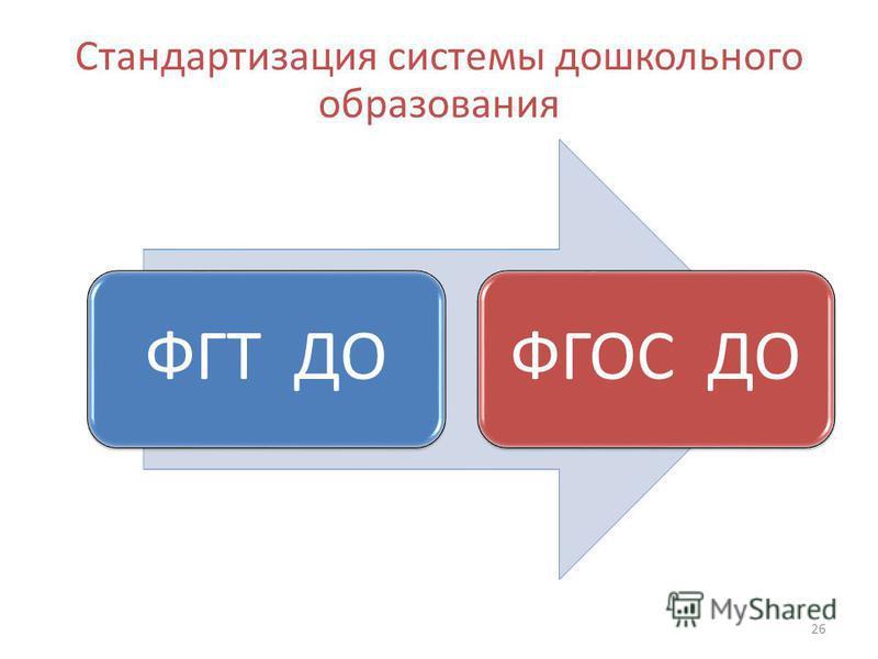 Стандартизация системы дошкольного образования 26 ФГТ ДОФГОС ДО
