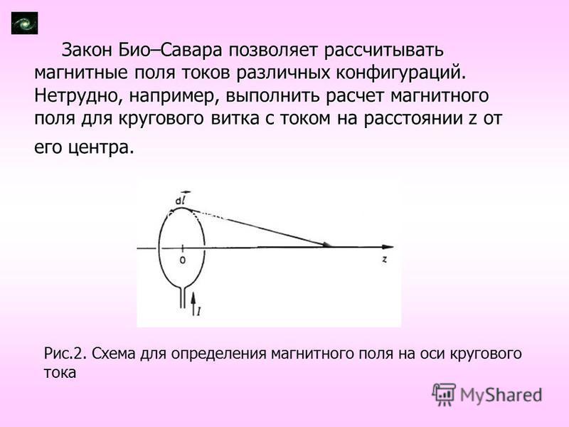 Закон Био–Савара позволяет рассчитывать магнитные поля токов различных конфигураций. Нетрудно, например, выполнить расчет магнитного поля для кругового витка с током на расстоянии z от его центра. Рис.2. Схема для определения магнитного поля на оси к
