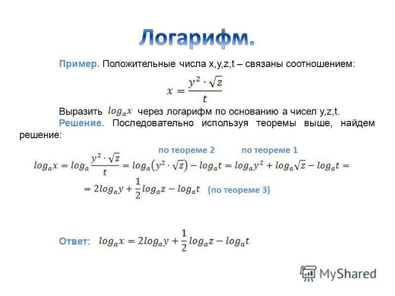 Пример. Положительные числа x,y,z,t – связаны соотношением: Выразить через логарифм по основанию а чисел y,z,t. Решение. Последовательно используя теоремы выше, найдем решение: Ответ: по теореме 2 по теореме 1 (по теореме 3)
