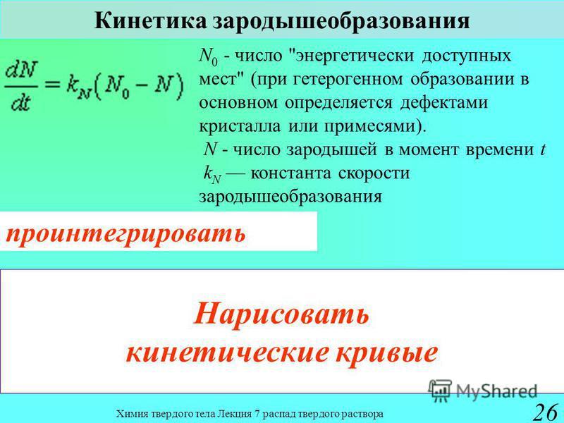Химия твердого тела Лекция 7 распад твердого раствора 26 Кинетика зародышеобразования N 0 - число